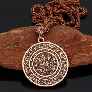 Viking Norse Helmet Horror In Runic Circle Necklace Magical Staves scandinavian Compass Rune Amulet Collier Pendant With Chain