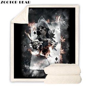 Poker Skull Throw Blanket Skeleton Sherpa Fleece Beds Blanket Velvet Plush Customized Drop Shipping