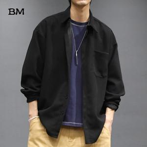 High Quality Thin Corduroy Shirts Men Japanese Streetwear Loose Coat Ulzzang Korean Fashion Clothes Solid Color Harajuku Shirt