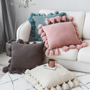 Knitted Cushion Cover Solid Pink Beige Grey Nordic Style Pillow Case With Tassle For Sofa Bed Room Home Decorative 45*45cm T200624