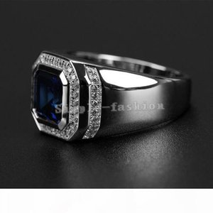 A Free Shipping Wholesale Ring High Quliry Solitarie Blue Sapphire 925 Sterling Silver Simulated Diamond Wedding Men Ring Gift Size 8 -
