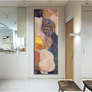 Gustav Klimt Kuss Goldfish Leinwand-Malerei Kunstreproduktionen Abstrakte Poster Moderne Wand-Kunst-Bilder für Wohnzimmer Wohnkultur