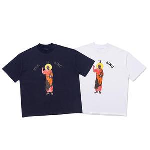 Moda primavera-estate progettista collaborazione dio graffiti maglietta di marca di modo delle donne T uomini camicia casual cotone Tee