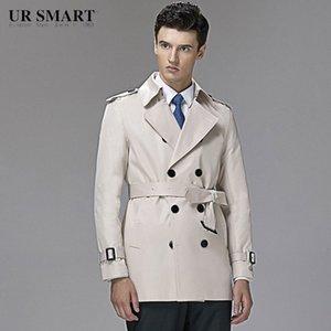 style britannique URSMART authentiques hommes à double boutonnage courte tranchée riz manteau blanc de cultiver RGin de la moralité de #