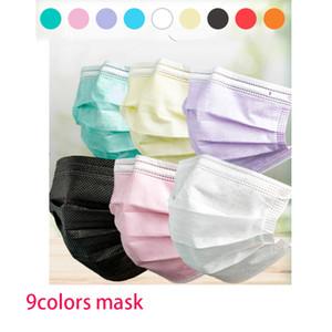 Dokumasız DHL'in 500pcs atılan yüz masks50pcs / torba yetişkin maskeleri renkli maske 3 Katman Balck Gri Pembe Toz Ağız Maskeleri Kapak 3 Katlı
