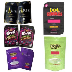 500mg Hashtag Miele LOL Sour Terp Errlli Mylar Borsa Childproof Edibles Svuotare il sacchetto Vape al dettaglio imballaggio per Dry Herb Tabacco Pacchetto Fiore