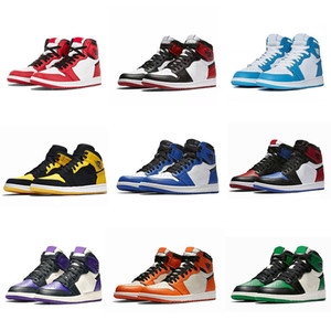Nike air jordan 1 shoes Basketball Shoes del dedo del pie negro de color rosa corte negro verde púrpura hombres patentes UNC blancas zapatillas de deporte los 36-46 Eur