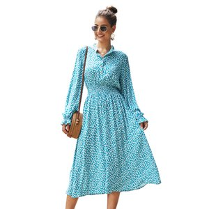 2020 New women long sleeve causal printed dress for spring autumn