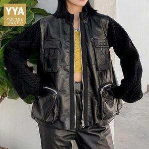 Safari Style Sheepskin Knitting Long Sleeve Trench Coat Female Streetwear Designer Loose Zipper Genuine Leather Outerwear Jacket