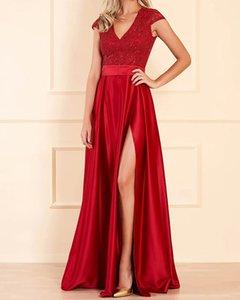 A-Line Elegant Floral Engagement Formal Evening Dress V Neck Short Sleeve Floor Length Lace Satin with Sash   Ribbon Split Embroidery