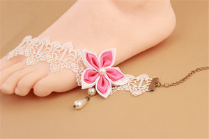 Korean Version Of New Black And White Pearl Lace Women's Anklet Foot Decoration Bauhinia Flower Rose Small Fresh Jewelry Wholesale