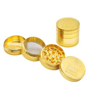 Metal Cigarette Mill with diameter of 40mm four layer zinc alloy gold coin Cigarette Mill and cigarette breaker