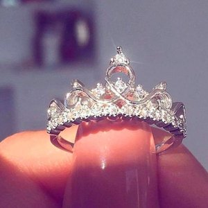 Cute Female Ladies Small Crown Zircon Ring Fashion Rose Gold Wedding Ring Elegant Love Queen Engagement Rings For Women