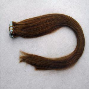 Hellbraun Farbe Glattes Haar Extensions Skin Weft Hand gebunden Band in Remy Menschenhaar-Verlängerungen 10-36 Inchs 20pcs / 40pcs / 100g
