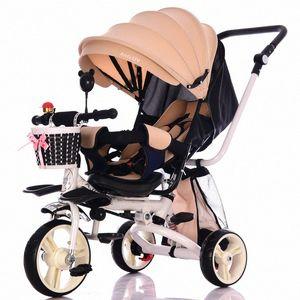 Işık Katlama Çocuk Tricycle Can Yalan yaslanmak Üç Tekerlekler Bebek Tricycle Bisiklet Arabası Araba Seyahat Yenidoğan Bebek Arabası zR9S #