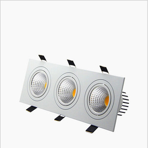 Recessed LED Dimmable 3 head Square Downlight COB 15W 21W 30W 36W LED Spot light Ceiling Lamp AC85-265V led puck lights