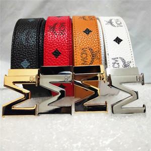 Women Genuine leather designer 3.4cm width belts for men high quality brass buckles MC̴M G Business M Jeans G Dress strap