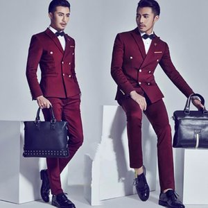 2020 Burgundy Double Breasted Groom Tuxedos Fashion Mens Wedding Prom Party Suits Italian Style Gentleman Suit (jacket+pants)