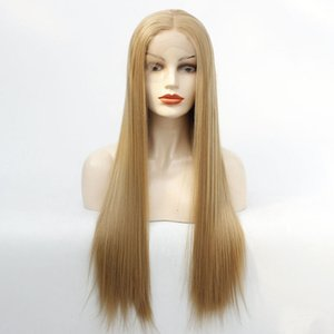 27long straight blonde lace wig women synthetic hair wigs soft fiber hair for white women heat resistant full wig female fashion