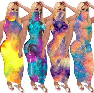 Designer donne maxi abiti lunghi Tie Dye maniche casual Gonna lunga sexy U-collo Big Swing pullover dei vestiti di estate più il formato S-2XL Cy60