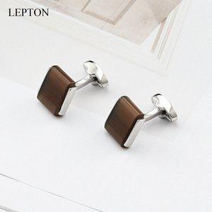 Discret pierre oeil de chat Boutons de manchette pour hommes de haute qualité carrée Brown Opal pierre Cufflink Relojes de leptons Bijoux # qncQ de