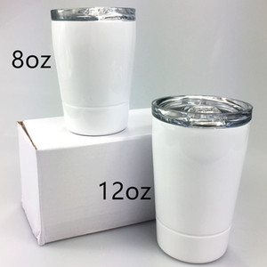 New 8oz Sublimation Kid Tumbler Straight Tumbler Stainless Steel Baby Bottle Double Wall Insulated Travel Mug with Lid