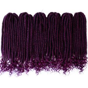 Crochet Twist Braids Synthetic Braiding Spring Twist Hair Extensions Kinky Curly Twist Havana mambo Ombre purple goddess locs
