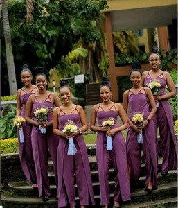African Bridesmaid Dresses Prom jumpsuit Cheap Ruffles spaghetti Satin Plus Size Evening Dress Sweep Train Maid Of Honor Gowns B104