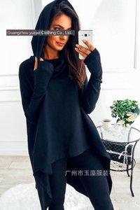 Super ma I Tong Ya ma Xun nova cor sólida camisola casuais de manga comprida camisola com capuz irregular 157