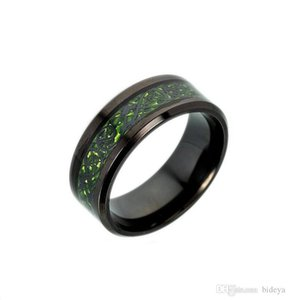Hot Sale Dragon Pattern Titanium Steel Mens Band Rings 2018 Red Green Fashion Jewelry Accessories for Mens