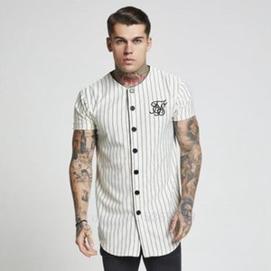 Summer Fashion 2019-2019 Men Streetwear T Shirt Sik Silk Embroidered Baseball Jersey Striped TShirts Men Brand Clothing hip hop