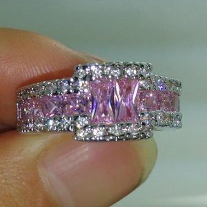 Professional wholesale Free shipping fashion jewelry 10kt white gold filled pink sapphire Gem MEN wedding ring gift