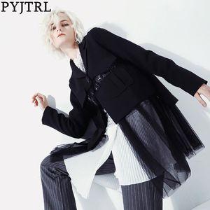 PYJTRL Women Fashion Casual Stitching Mesh Transparent Suit Jacket Hidden Buttons Black Blazer Dress Femme Street Wear Outfit
