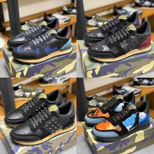 2020 Nouveau Casual cuir Formateurs Rockrunner Chaussures camouflage Sneaker populaire Cloutés Mesh Camo Suede Chaussures Femmes Hommes Rivet Chaussures