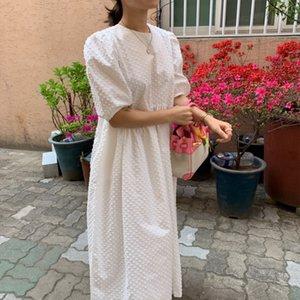 Puff Sleeve Polka Dot O-neck Women Dress Oversize Loose Korean Lady Long Dresses 2020 Summer Sweet Casual Ladies Vestidos