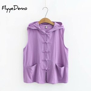 2020 New Spring Summer T Shirt Women Sleeveless Cotton Hoodie Chinese Style Pockets Loose Ladies Tees Plus Size