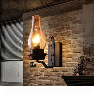 Retro Rustic Nordic Glass Wall Lamp Bedroom Bedside Wall Sconce Vintage Industrial Wall Light Fixtures Bedroom Aisle Staircase Lamps