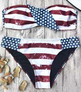 Trajes bandera americana patriótica del bikini palabra de honor con los bikinis reversible de impresión traje de baño Biquini bañadores empujan hacia arriba traje de baño para las mujeres