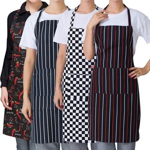 Womens Mens Cooking Chef Kitchen Restaurant Bib Apron Dress with 2 Pockets Chef Waiter Aprons Bibs Kitchen Accessory