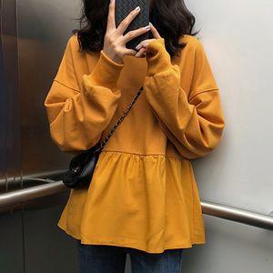 4 Colors Ruffles Hoodies Sweatshirt Korean Loose Hoodies Women Oversize Pullover Long Sleeve Autumn Sweatshirt Harajuku Top Full