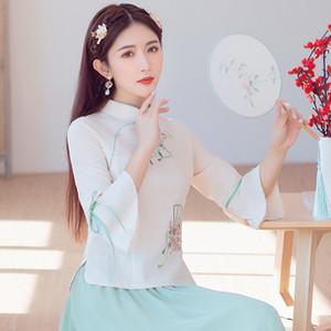 les femmes KYQIAO tops boutons col élégant Vêtement traditionnel chinois mandarin été femme cheongsam chemises blouse tops