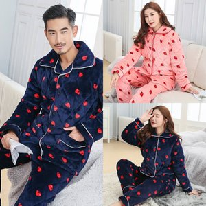 sepyT Parent-Child clothing strawberry Strawberry pajamas Cotton-padded pajamas mother and daughter father and son children flannel three-la
