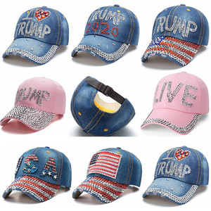 Trump 2020 Бейсболка Cowboy Алмазный слова Hat USA Избирательные Шляпы Donald Trump Регулируемое Snapback Denim Hat Открытый спортивный Cap HHA1489