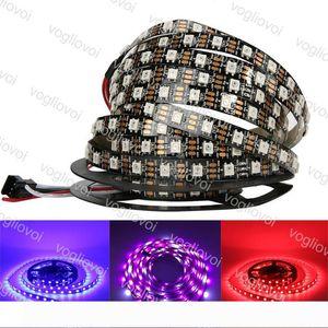 LED 스트립 빛 DC5V 개별적으로 주소 WS2812B LED 스트립 빛 화이트 블랙 PCB 30 ~ 60 픽셀 RGB 2812 주도 테이프 리본 방수 DHL