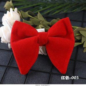 Red Men Bow Ties Solid Color Tie Adjustment Velvet Necktie Groom Groomsmen Best Man Wedding Party Cravat LD2