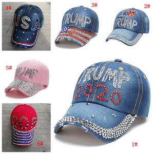 Nouveau diamant Trump Caps Donald Trump 2020 Baseball Cap Trump campagne électorale Chapeau de fête des femmes Cowboy Chapeaux snapback réglable DBC BH3950