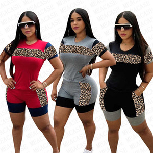 2020 Nova Mulheres Treino Designer Leopard retalhos colorida camiseta manga curta Shorts Two Piece Suit Set Outfits Moda Sports S-3XL D72205