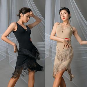 2020 New Black manches Tassel Latin Dance Dress Tops et Jupe Danse Performance Femmes Robe de bal Samba Tango L9633