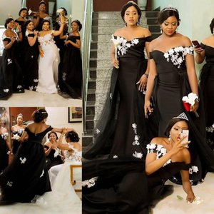 African Black Mermaid Bridesmaid Dresses White Lace Appliques Overskirts Wedding Guest Dress Off the Shoulder Maid of Honor Gowns