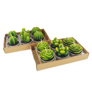 6pcs 1set Decorative Wedding Candles Mini Cactus Candle Table Tea Light Home Garden Simulation Plant Candle party Home Decorations